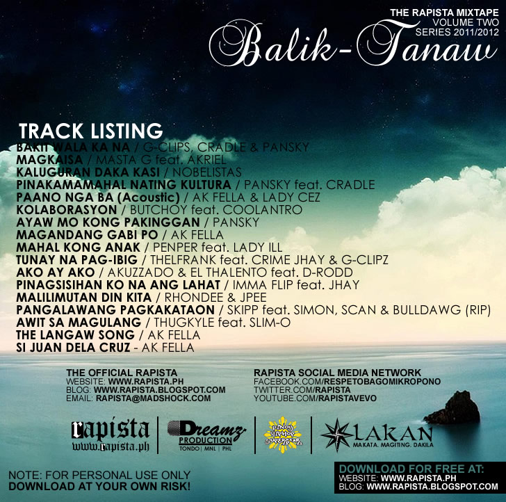 Rapista Annual Mixtape Volume 2 - Balik-tanaw (Series 2011-2012) - back cover